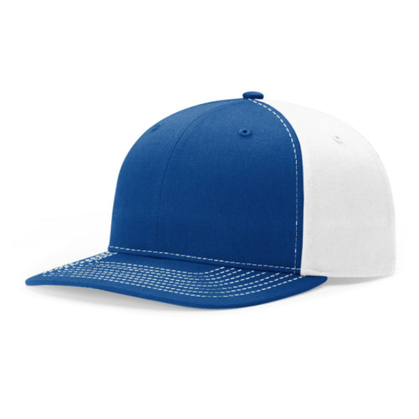 Richardson Twill Mesh Back With Twill Cotton-Poly Bend Hat with Contrast Stitching and Adjustable Plastic Snapback
