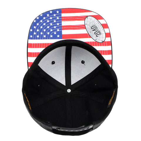 Flexfit Yupoong The Classic 6 Panel Snapback Custom USA American Flag Print Undervisor