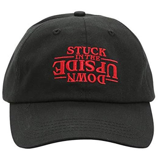 Stranger Things Upside Down Embroidered Logo on Curved Baseball Cap and Flatbill Snapback