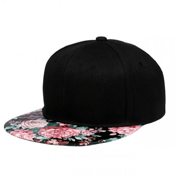 Floral Pattern PU Leather Flat Bill Visor Adjustable Snapback Hat