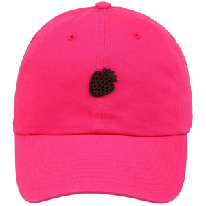 Strawberry Leather Cut Out Patch on Unstructured Dad Hat