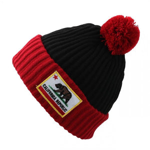 California Cuffed Thick Ribbed Knit Pom Beanie