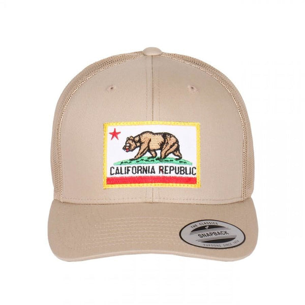 California Bear Embroidered Patch on Flexfit Retro Curved Trucker Hat