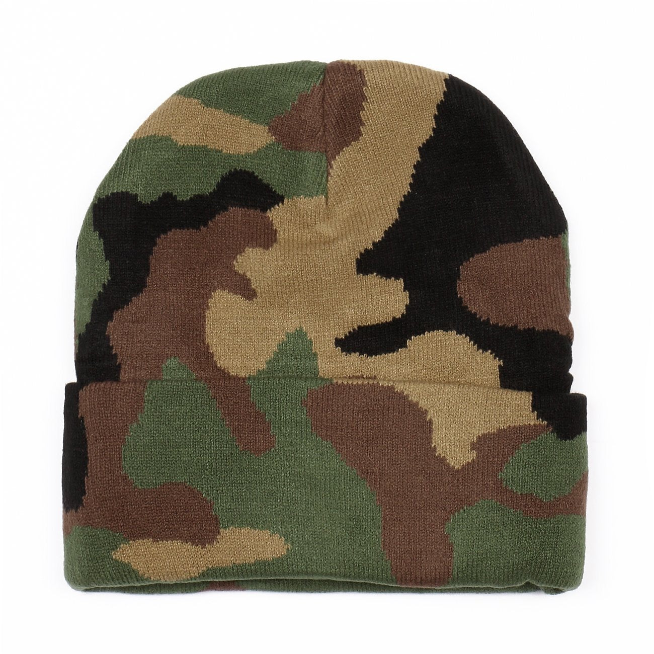 Long Cuffed Knit Camouflage Print Beanie