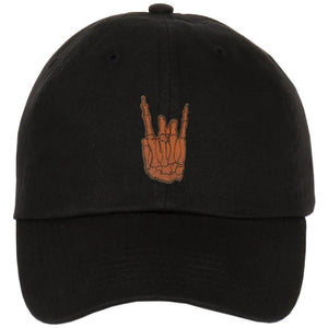 Skeleton Rock N Roll Hand Leather Patch on Unstructured Dad Hat