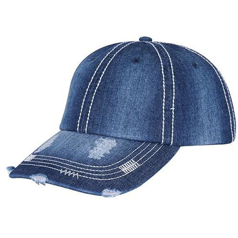 Distressed Heavy Washed Denim Cap