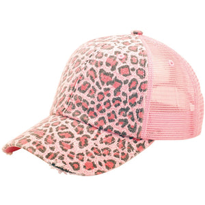 Low Profile Soft Structured Canvas Leopard Print Cap