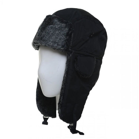 Winter Unisex Knit Trooper Hat w/ Faux Fur Trim