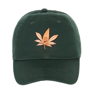 Exclusive Leather 420 happy leaf patch on dad hat