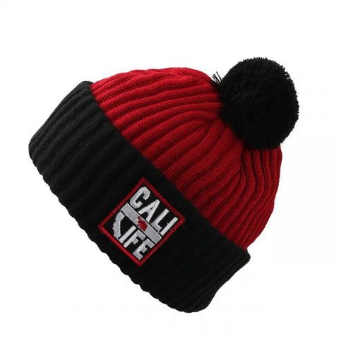 Cali Life Patch Two-Tone Cuffed Thick Ribbed Knit Pom Beanie