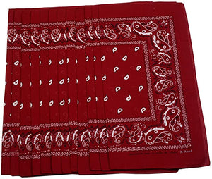 USA American & Plain Cotton Paisley Bandana Scarf - (12 Pack)