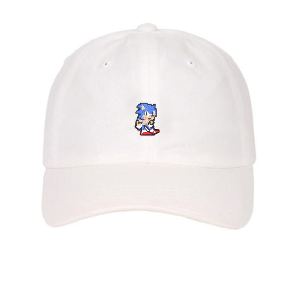 Embroidered Pixelated Sonic the hedgehog game nintendo character dad hat
