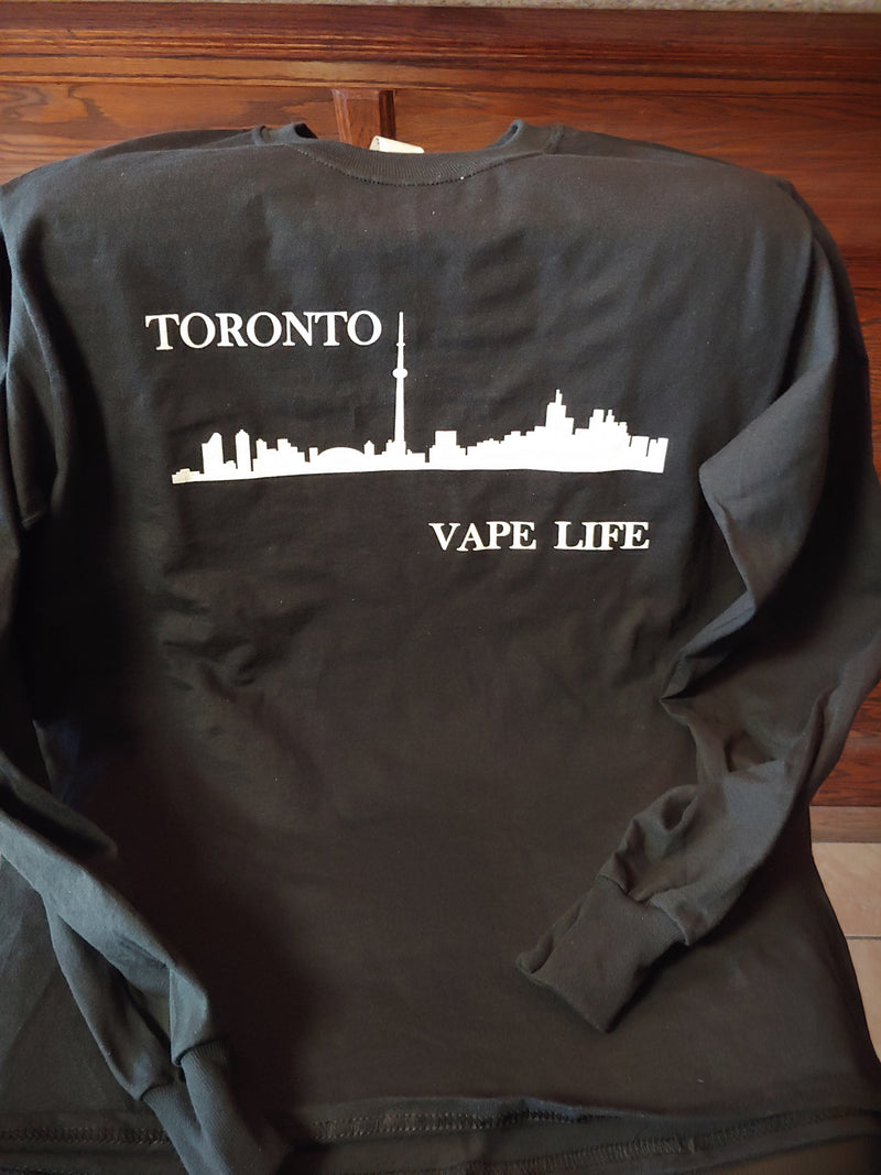 TORONTO VAPE LIFE- LONG SLEEVE T-SHIRT- SKYLINE LOGO