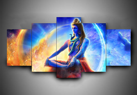 Hinduism - Religion - Shiva (8 Styles) - 5-Piece Canvas Wall Art