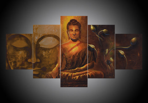 5-Piece Canvas Wall Art - Buddha - Religion (7 Styles) - TheSevenShop