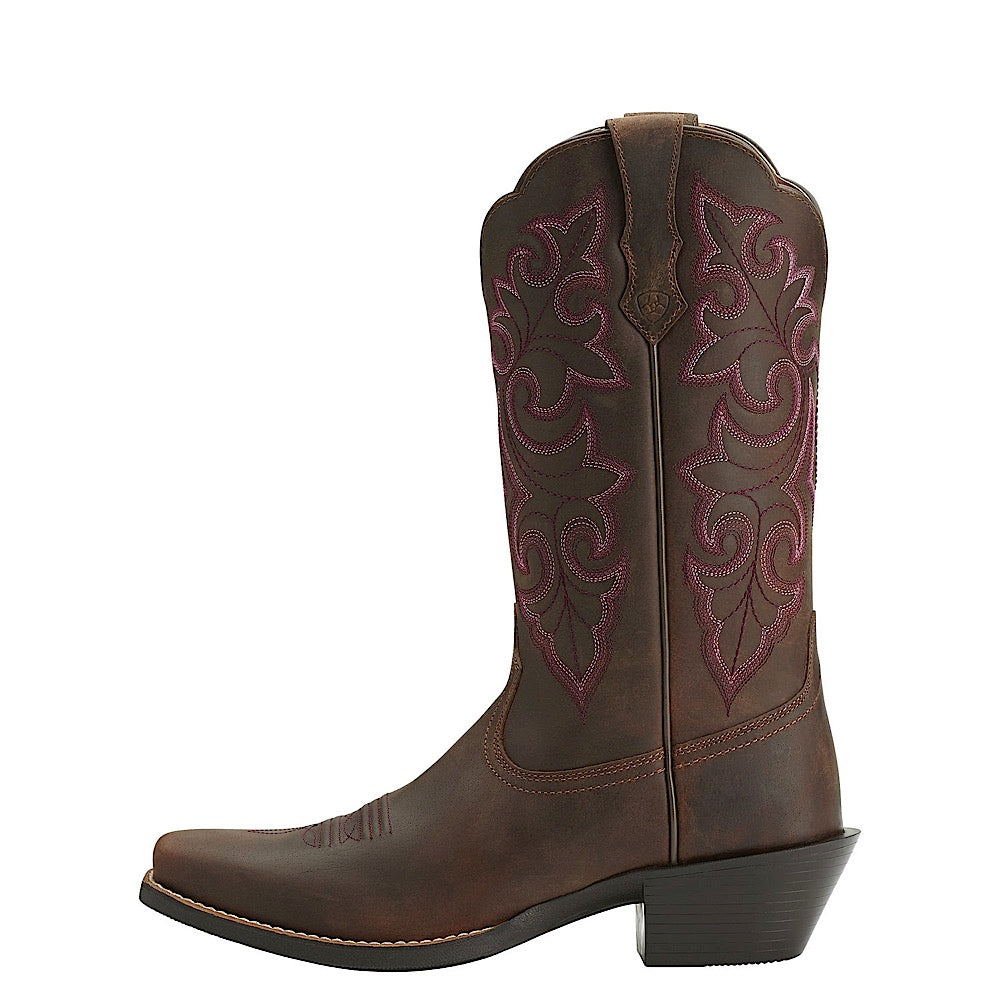 b36c8c82d55 Ariat Womens Round Up Square Toe Powder Brown
