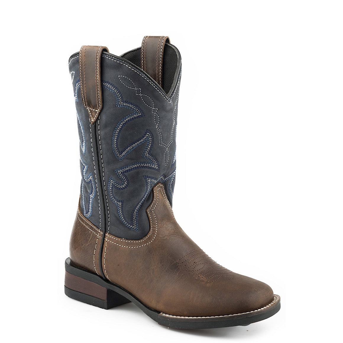 Roper Little Kids Monterey Leather Western Boots Brown/ Navy