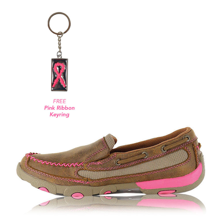 Twisted X Womens Pink Ribbon Slip On Mocs Low Bomber/Neon Pink