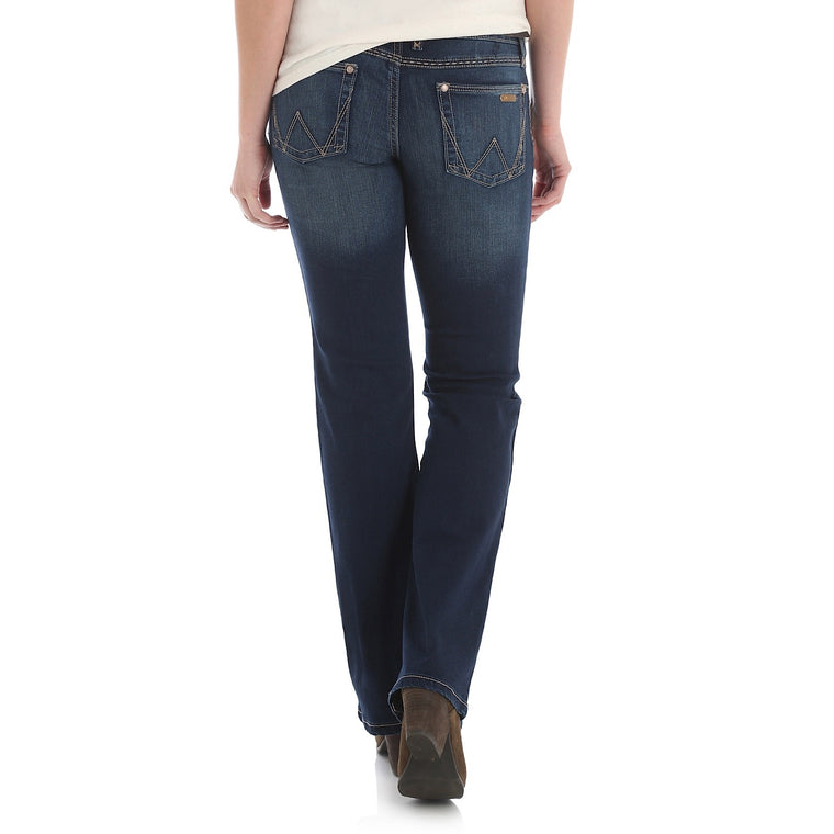 Wrangler Womens Retro Mid Rise Boot Cut Jean - Mae - 34 Leg Dark Blue