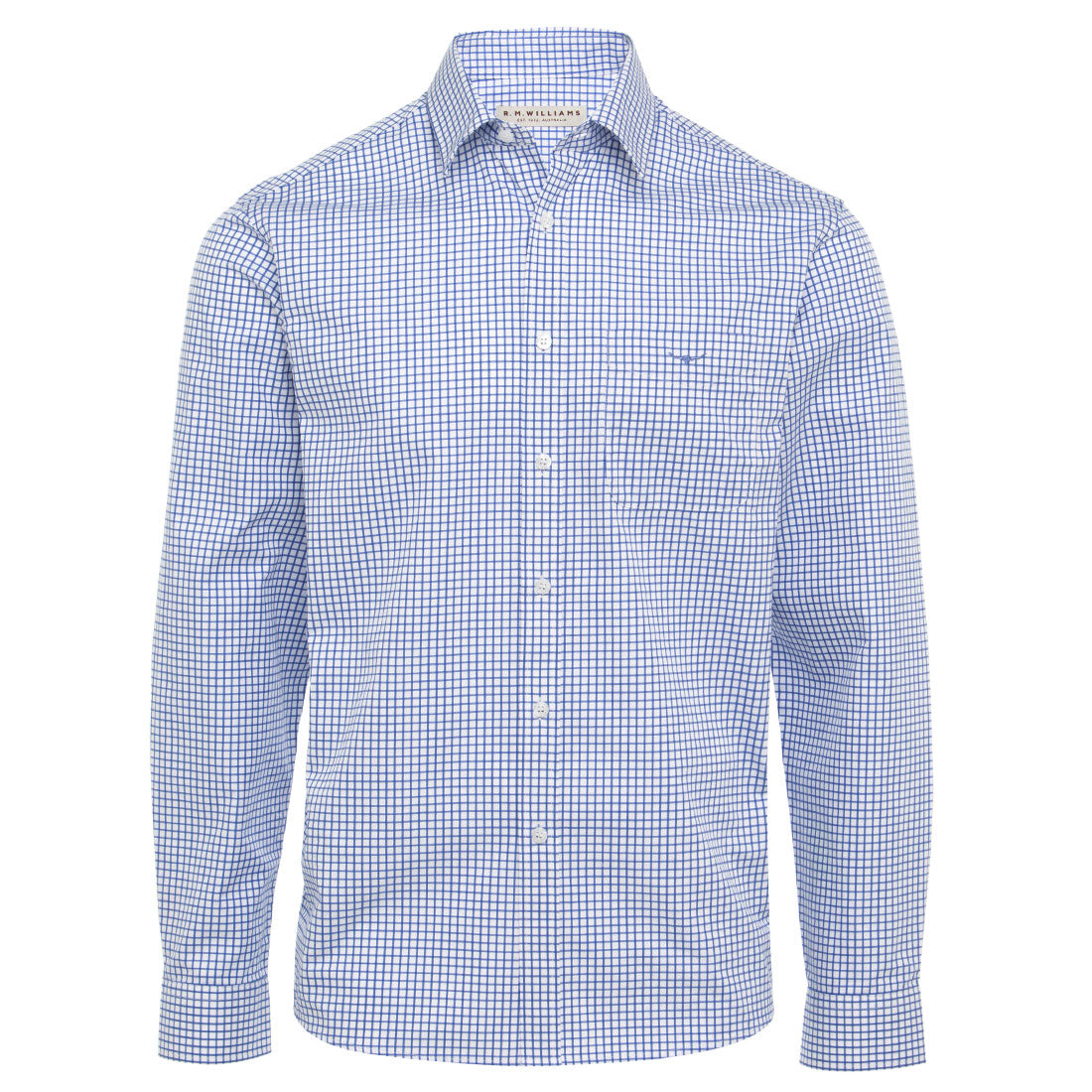 R.M.Williams Collins Shirt White/Blue