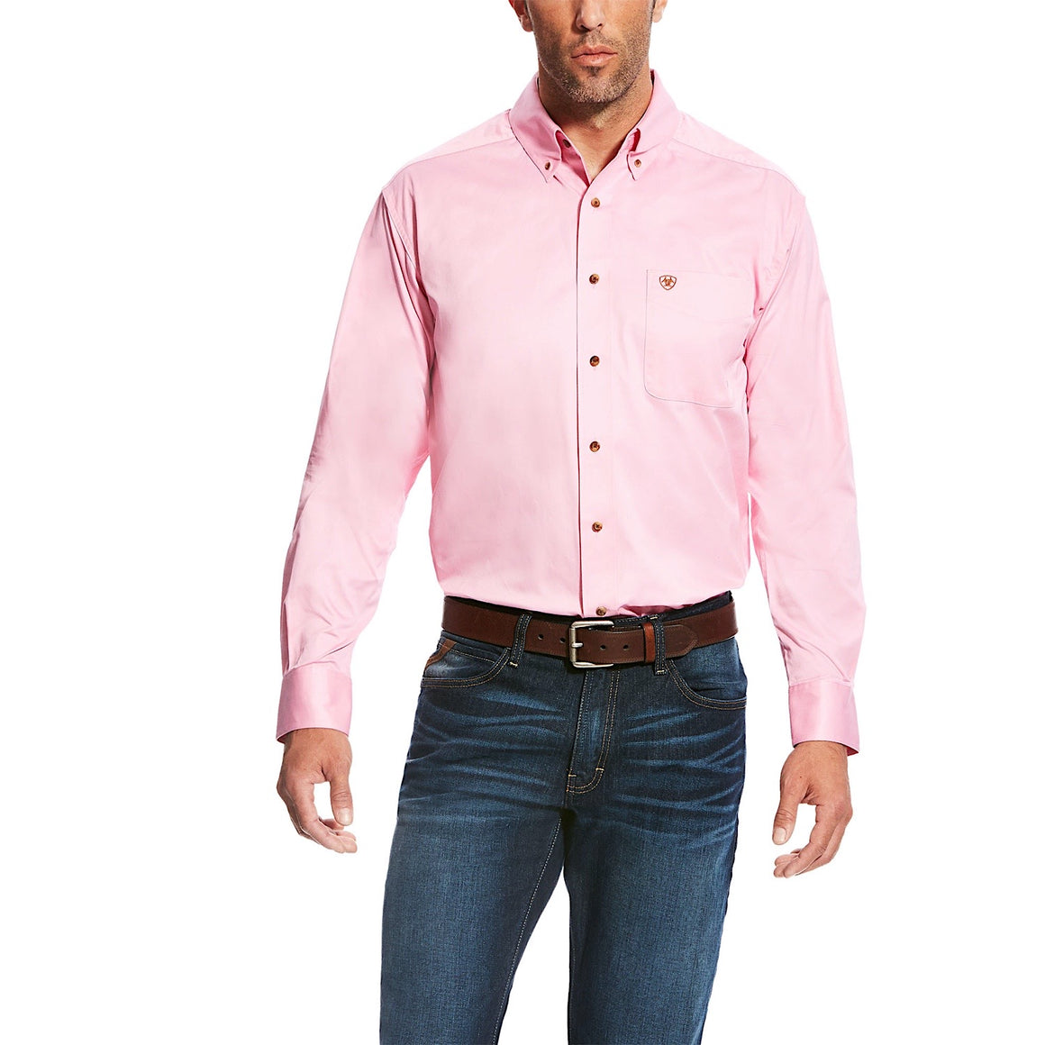 Ariat Mens Solid Twill Classic Fit Shirt Prism Pink