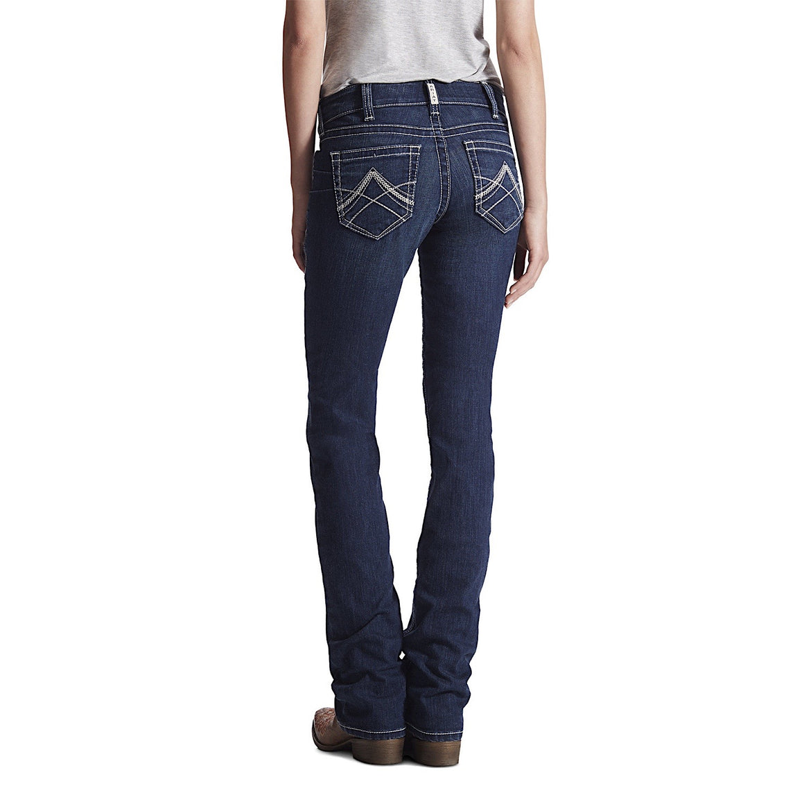 Ariat Womens R.E.A.L Mid Rise Icon Stackable Straight Leg Jean Ocean