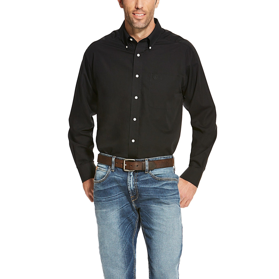 Ariat Mens Wrinkle Free Solid Classic Fit Shirt Black