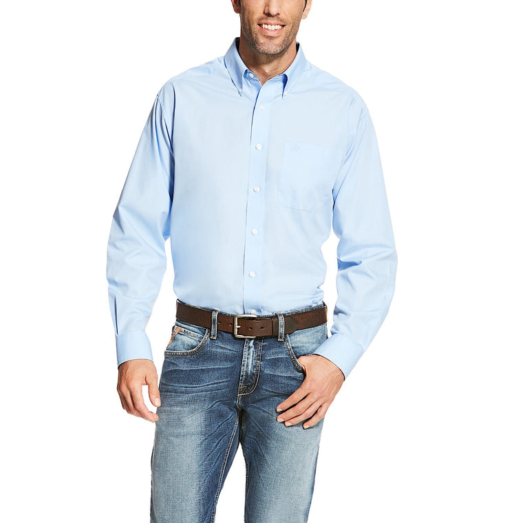 Ariat Mens Wrinkle Free Solid Classic Fit Shirt Light Blue