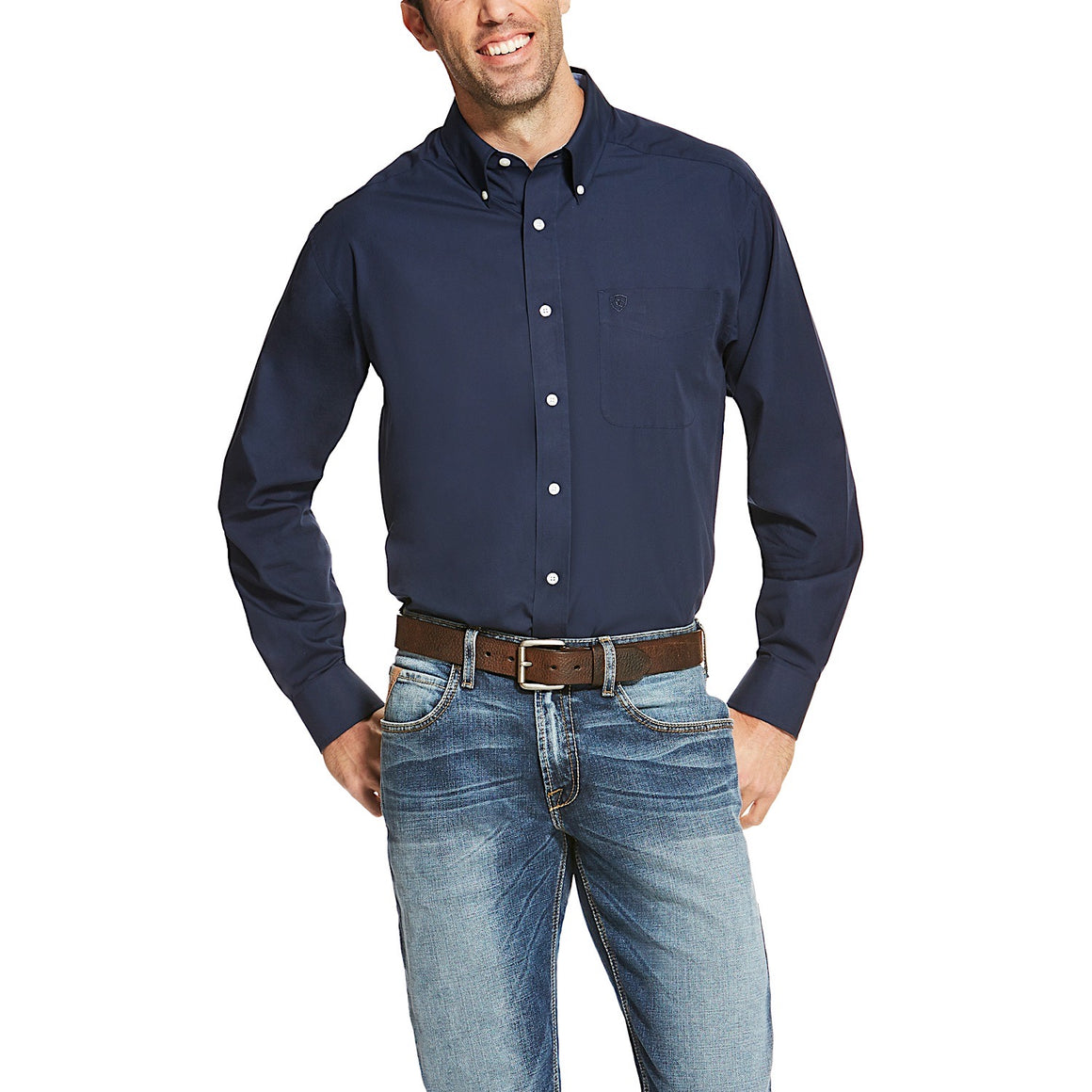 Ariat Mens Wrinkle Free Solid Classic Fit Shirt Navy Blue