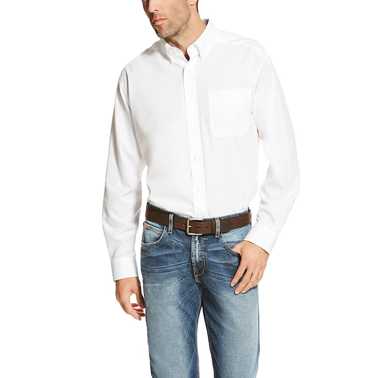 Ariat Mens Wrinkle Free Solid Classic Fit Shirt White