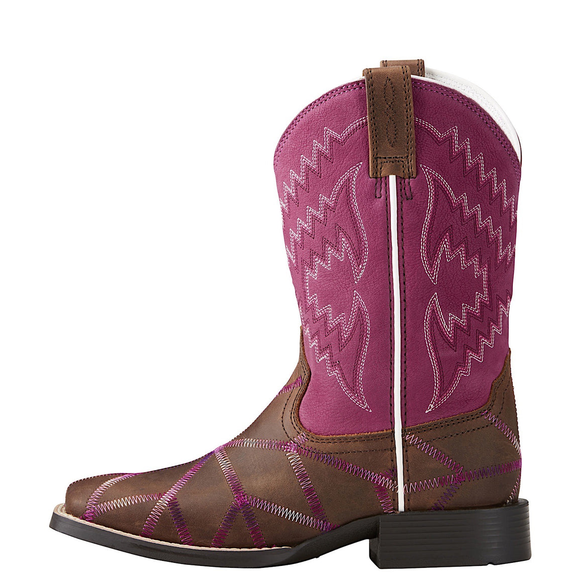Ariat Girls Twisted Tycoon Western Boot Distressed Brown/ Plum Pink