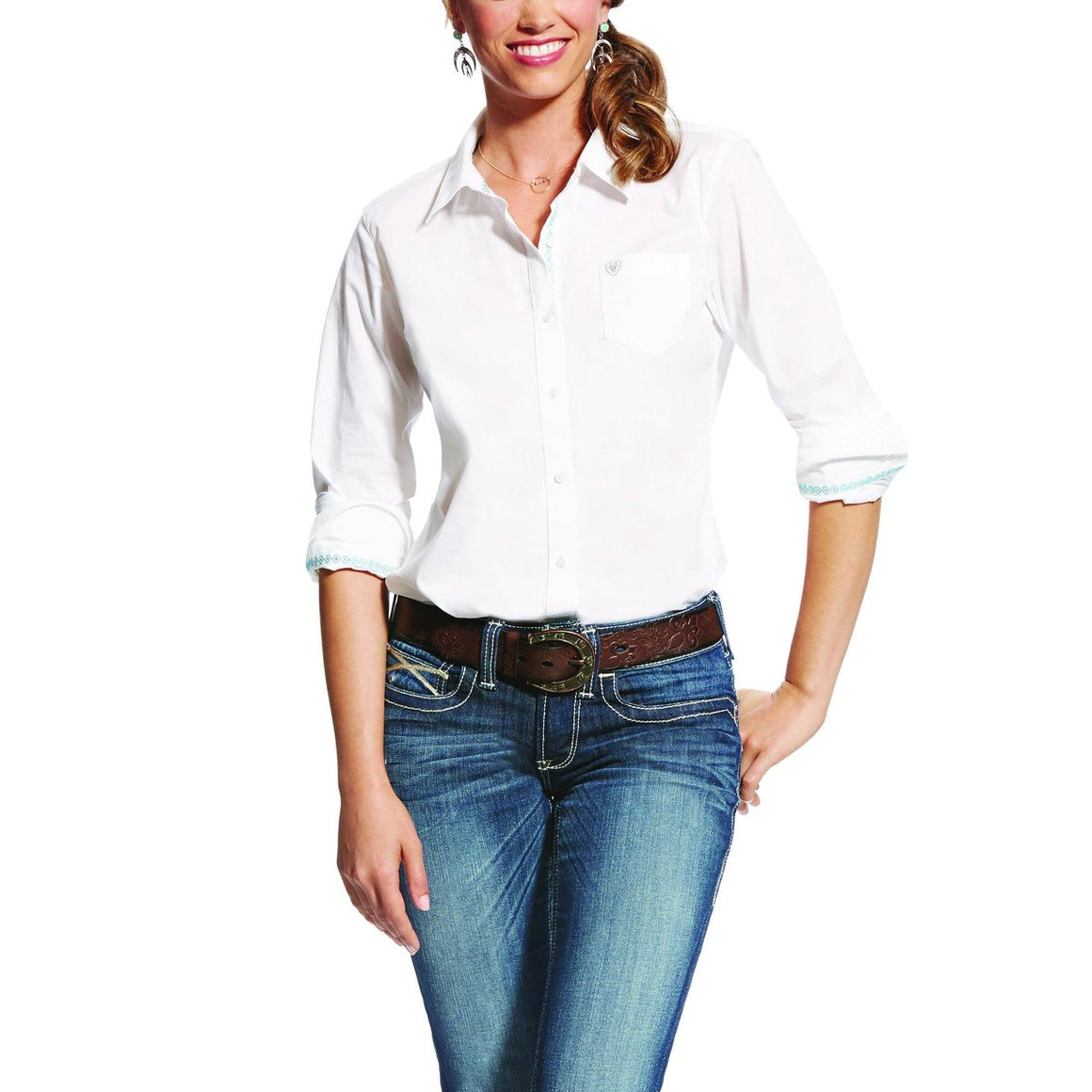 Ariat Womens Wrinkle Resist Kirby Stretch Shirt White