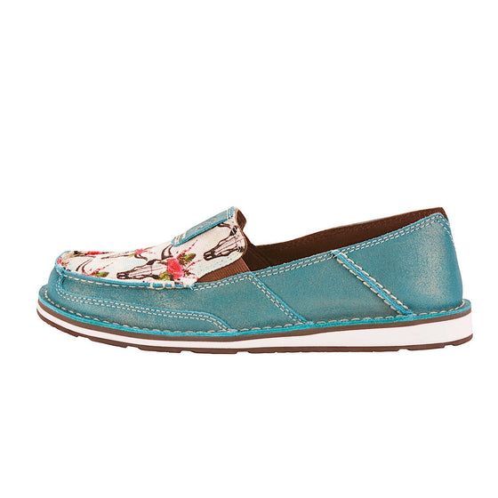 Ariat Womens Cruiser Shimmer Turquoise/Steers And Roses Print