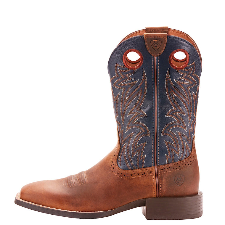 Ariat Mens Sport Sidebet Western Boot Distressed Brown/Solid Blue