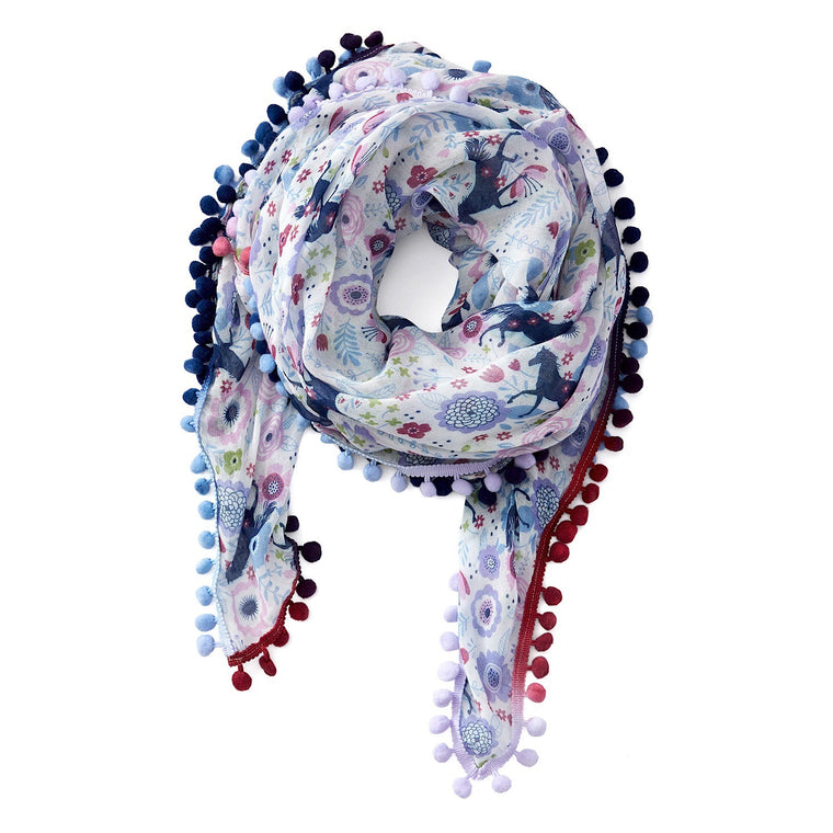 Ariat Womens Pony In Flora Azulene Print Scarf