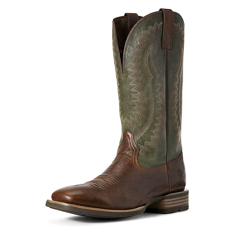 Ariat Mens Hot Iron Western Boot Brown Patina/Shamrock Green