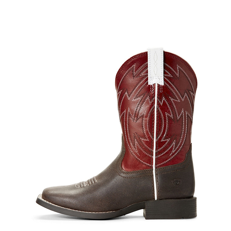 Ariat Kids Crossdraw Western Boot Java/Chilli Red