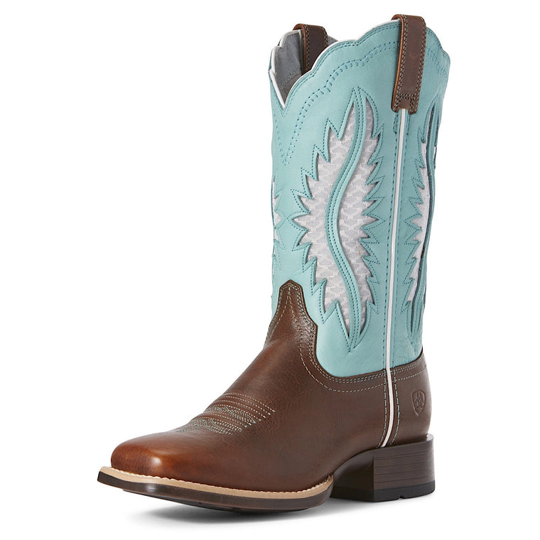 Ariat Womens Solana VentTek Western Boot Brown Patina/Aruba Blue
