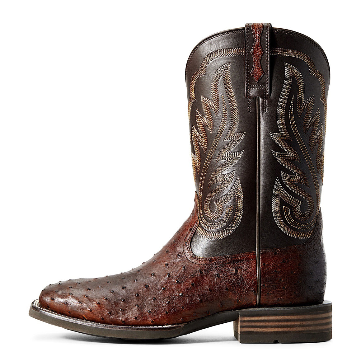 Ariat Mens Promoter Western Boot Matte Brown Full Quill Ostrich/ Basic Brown