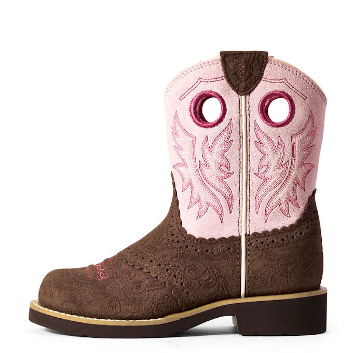 Ariat Kids Fatbaby Cowgirl Tooled Brown/Dusty Pink