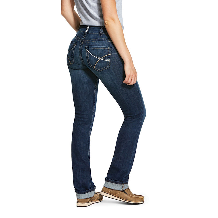 Ariat Womens R.E.A.L Mid Rise Stretch Rookie Stackable Straight Leg Jean Pacific