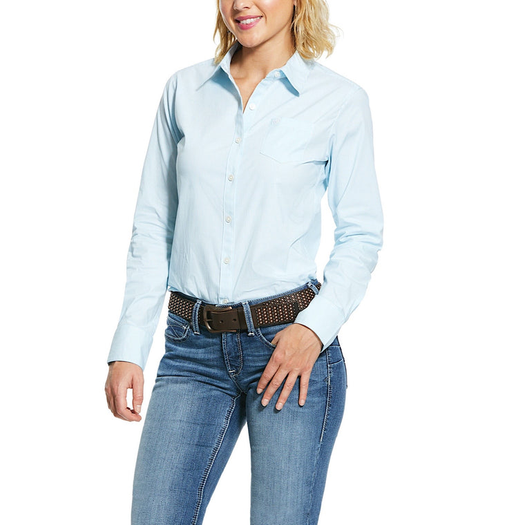 Ariat Womens Wrinkle Resist Kirby Stretch Shirt September Sky