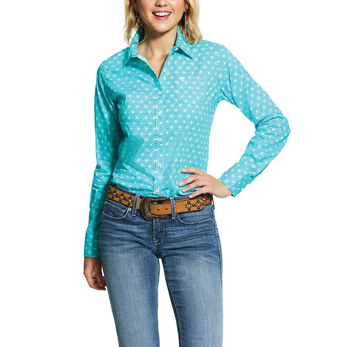 Ariat Womens Wrinkle Resist Kirby Stretch Shirt Western Sky