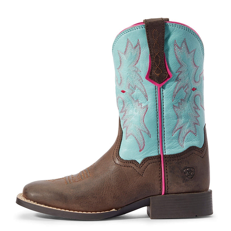 Ariat Kids Toombstone Western Boot Bay Brown/Bell Blue