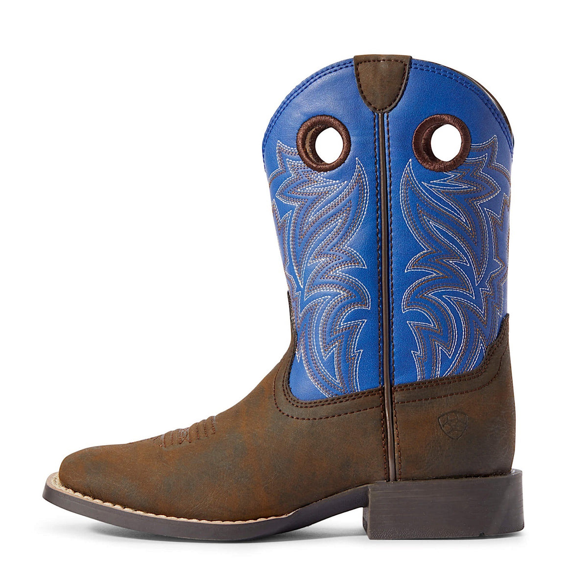 Ariat Kids Catch Em Western Boot Dark Chocolate/Cloud Blue