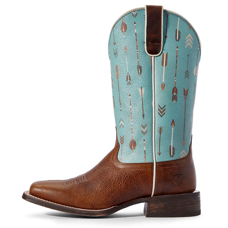 Ariat Womens Circuit Savanna Western Boot Chestnut Brown/Turquoise Arrows