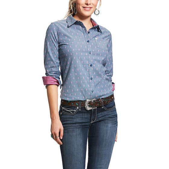 Ariat Womens Wrinkle Resist Kirby Stretch Shirt Faith Dobby