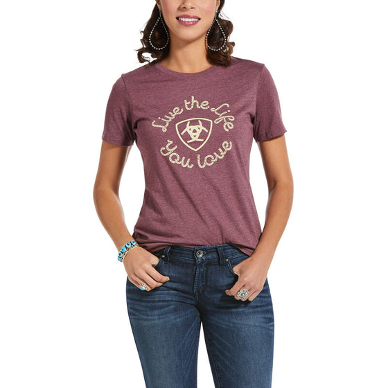 Ariat Womens Live The Life T-Shirt Burgundy