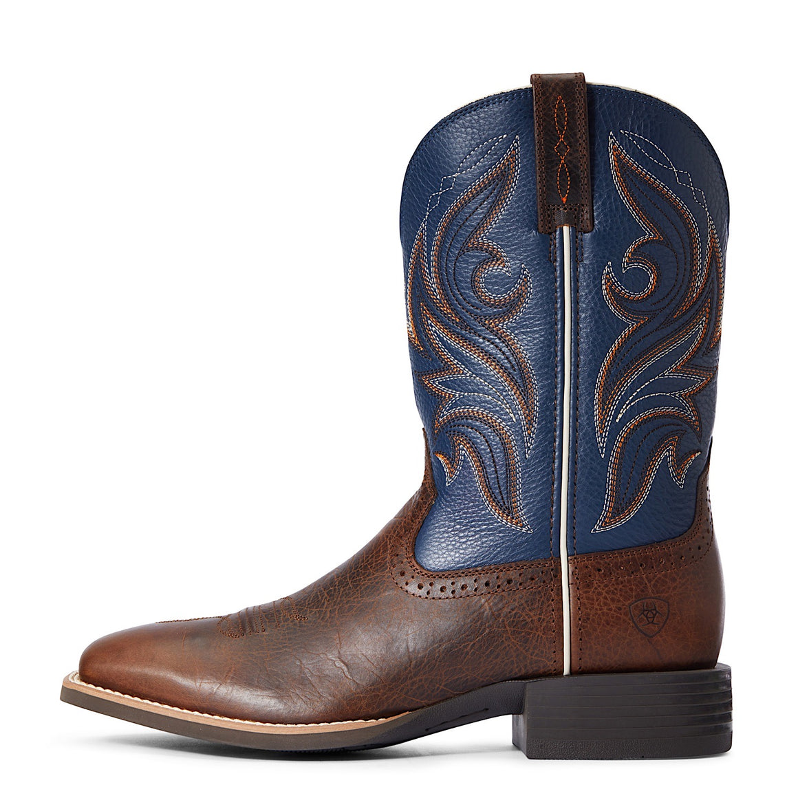 Ariat Mens Sport Knockout Western Boot Dark Whiskey/Sheriff Blue