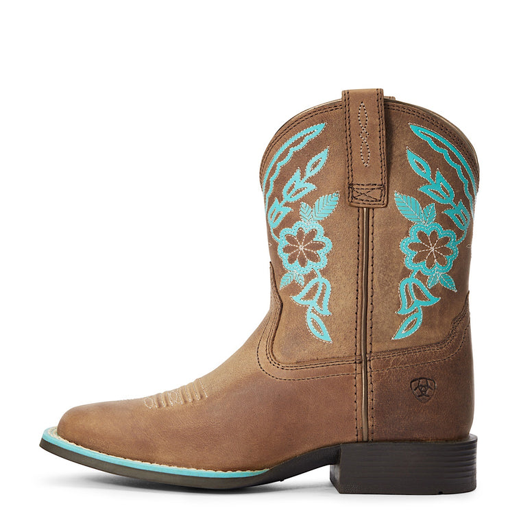 Ariat Girls Cattle Cate Western Boot Distressed Brown